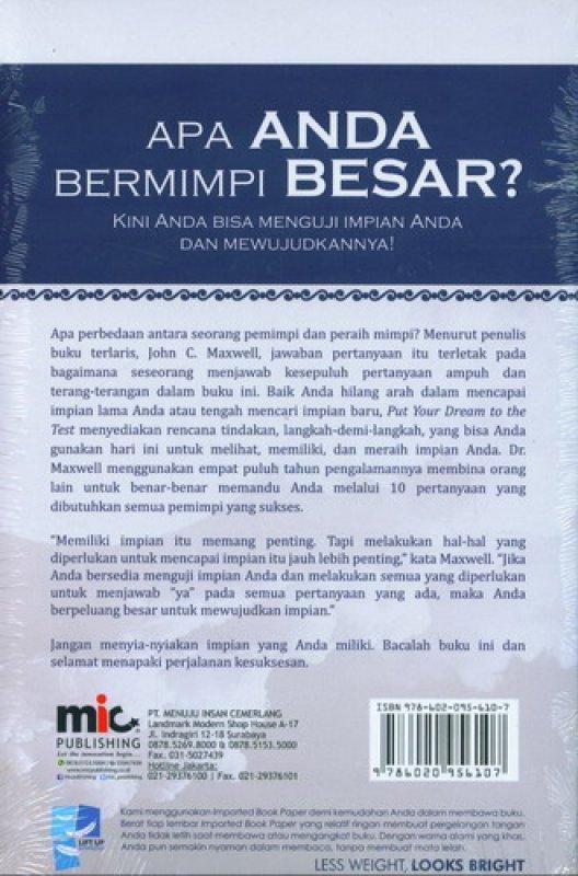 Cover Belakang Buku Put Your Dream To The Test