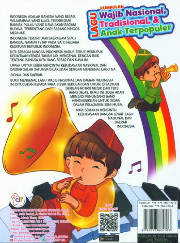Cover Belakang Buku Kumpulan Lagu Wajib Nasional, Tradisional & Anak Terpopuler + CD