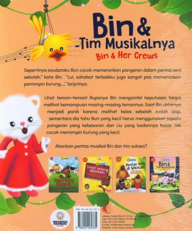 Cover Belakang Buku Bin & Tim Musikalnya - Bin & Her Crews [seri bilingual]